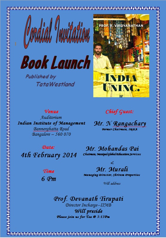Book Launch Invite - Bangalore